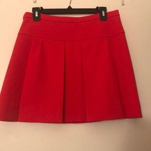 Red pleated J. Crew size 6 skirt